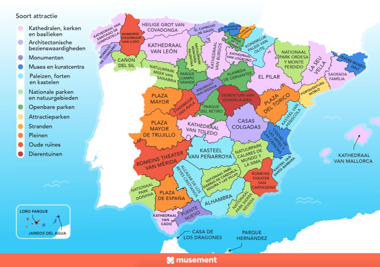 Wat zijn de populairste bezienswaardigheden van Spanje?